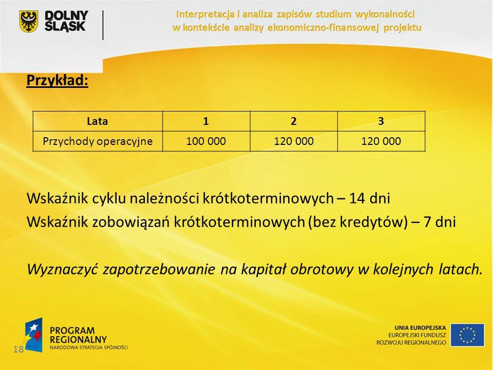 Przykład: Wskaźnik cyklu należności krótkoterminowych – 14 dni Wskaźnik zobowiązań krótkoterminowych (bez kredytów) – 7 dni Wyznaczyć zapotrzebowanie