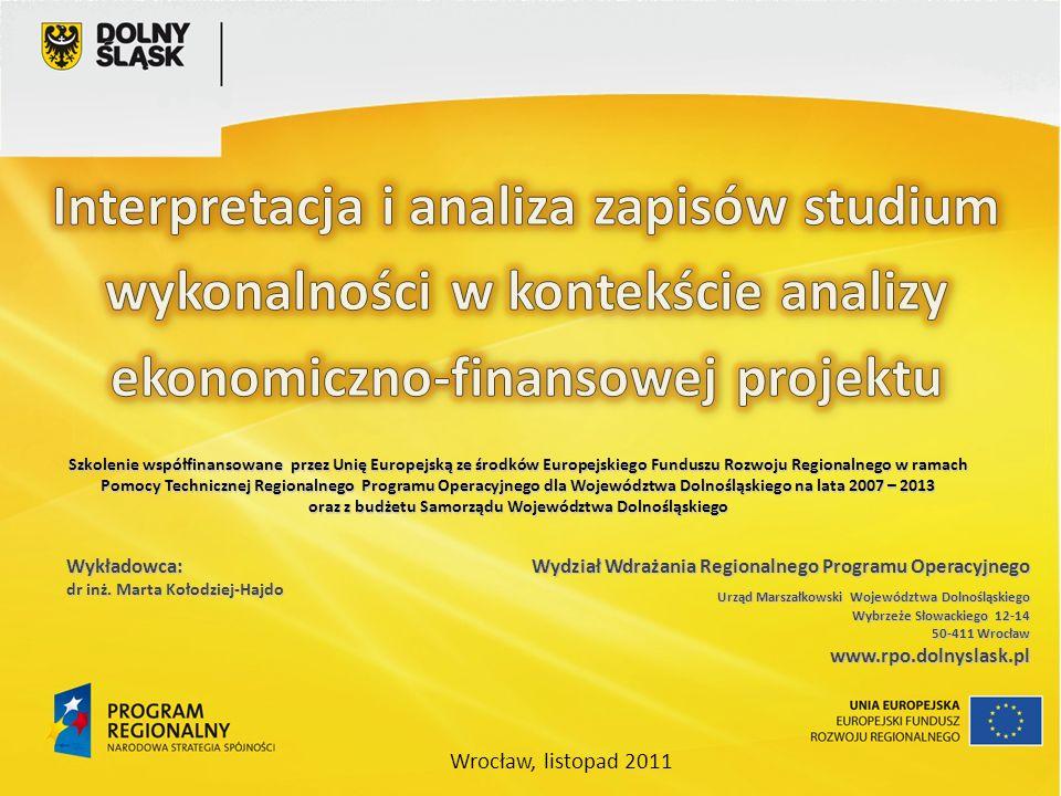 Wydział Wdrażania Regionalnego Programu Operacyjnego Urząd Marszałkowski Województwa Dolnośląskiego Wybrzeże Słowackiego 12-14 50-411 Wrocław 50-411 W