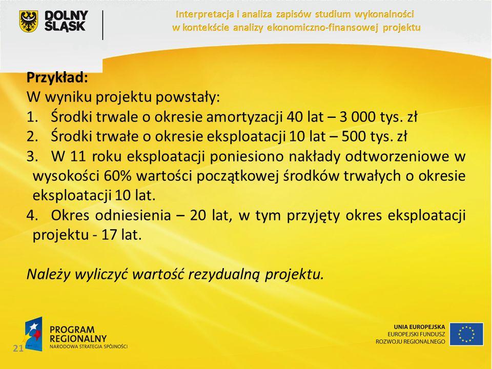 Przykład: W wyniku projektu powstały: 1.Środki trwale o okresie amortyzacji 40 lat – 3 000 tys. zł 2.Środki trwałe o okresie eksploatacji 10 lat – 500