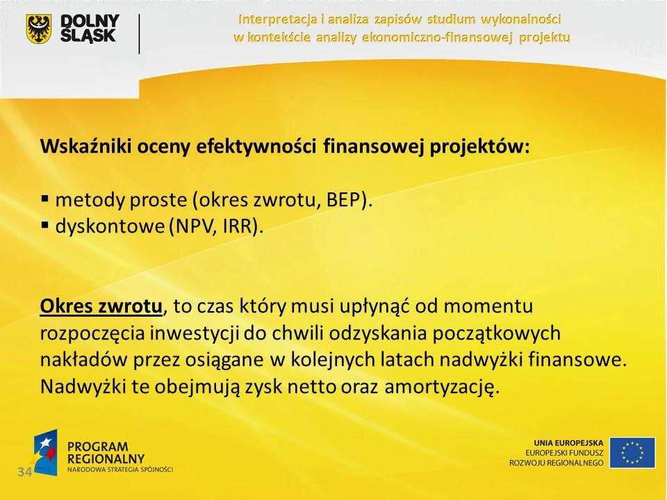 Wskaźniki oceny efektywności finansowej projektów: metody proste (okres zwrotu, BEP). dyskontowe (NPV, IRR). Okres zwrotu, to czas który musi upłynąć