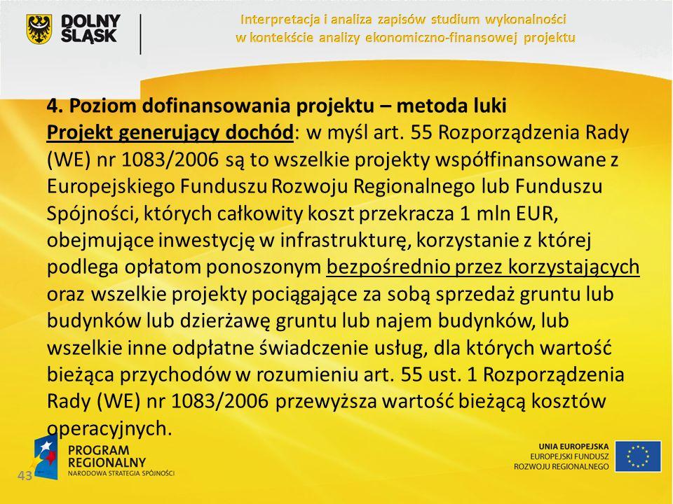 4. Poziom dofinansowania projektu – metoda luki Projekt generujący dochód: w myśl art. 55 Rozporządzenia Rady (WE) nr 1083/2006 są to wszelkie projekt