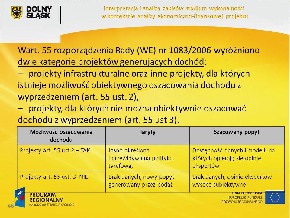 Wart. 55 rozporządzenia Rady (WE) nr 1083/2006 wyróżniono dwie kategorie projektów generujących dochód: –projekty infrastrukturalne oraz inne projekty