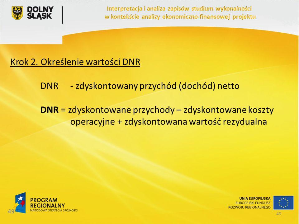 49 Krok 2. Określenie wartości DNR DNR- zdyskontowany przychód (dochód) netto DNR = zdyskontowane przychody – zdyskontowane koszty operacyjne + zdysko