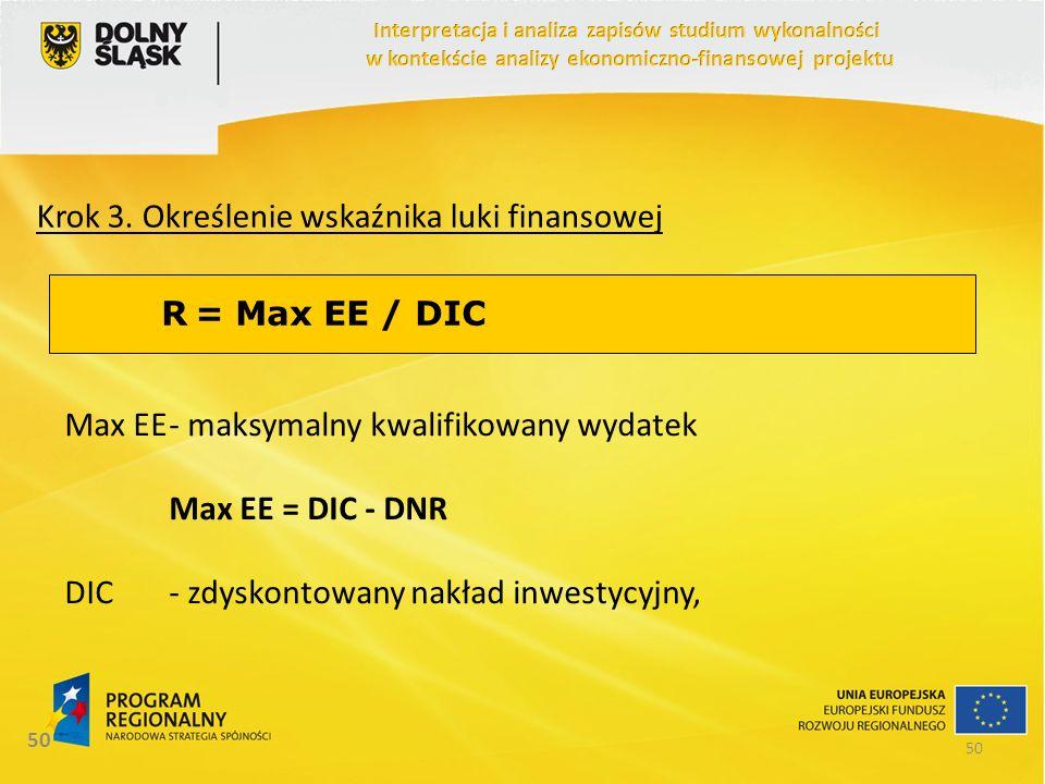 50 Krok 3. Określenie wskaźnika luki finansowej R = Max EE / DIC Max EE- maksymalny kwalifikowany wydatek Max EE = DIC - DNR DIC- zdyskontowany nakład