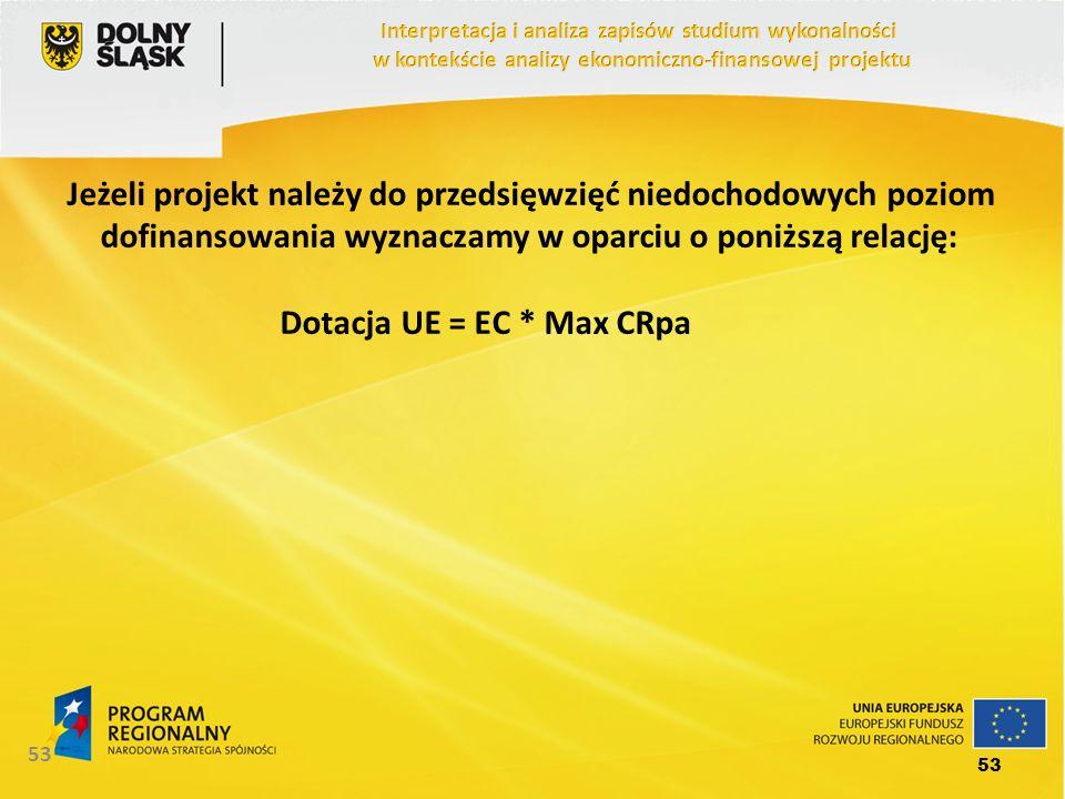 53 Jeżeli projekt należy do przedsięwzięć niedochodowych poziom dofinansowania wyznaczamy w oparciu o poniższą relację: Dotacja UE = EC * Max CRpa 53