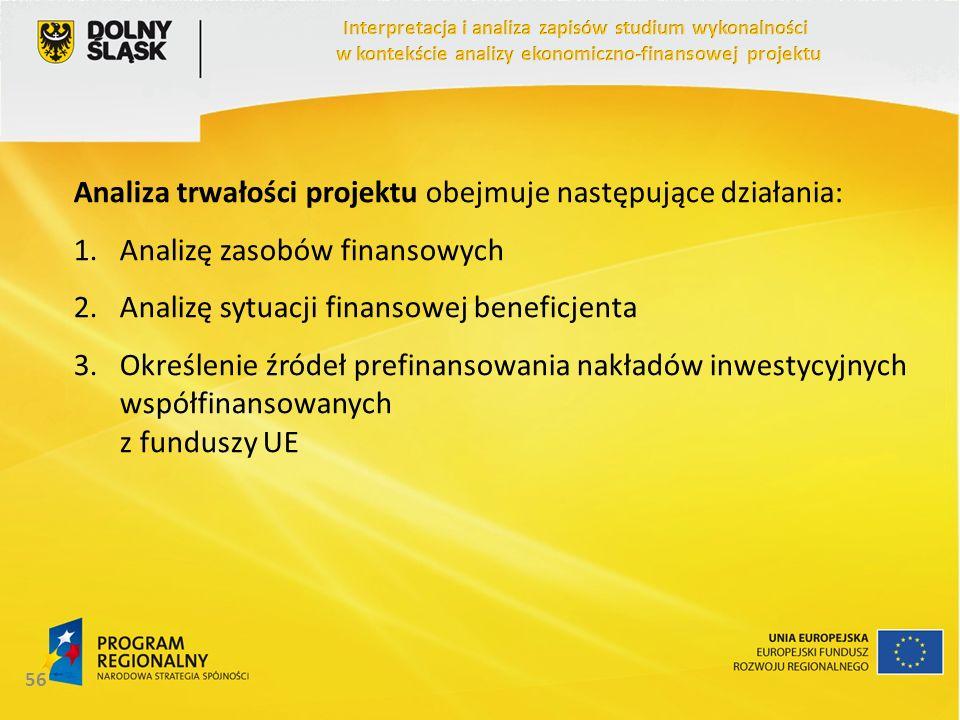 Analiza trwałości projektu obejmuje następujące działania: 1.Analizę zasobów finansowych 2.Analizę sytuacji finansowej beneficjenta 3.Określenie źróde