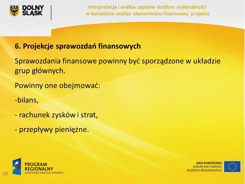 58 6. Projekcje sprawozdań finansowych Sprawozdania finansowe powinny być sporządzone w układzie grup głównych. Powinny one obejmować: -bilans, - rach