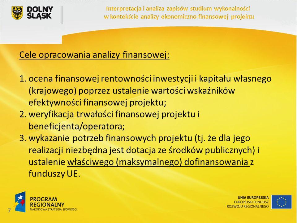 Cele opracowania analizy finansowej: 1.ocena finansowej rentowności inwestycji i kapitału własnego (krajowego) poprzez ustalenie wartości wskaźników e