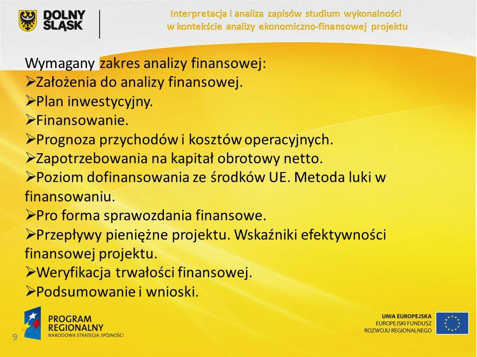 Wymagany zakres analizy finansowej: Założenia do analizy finansowej. Plan inwestycyjny. Finansowanie. Prognoza przychodów i kosztów operacyjnych. Zapo