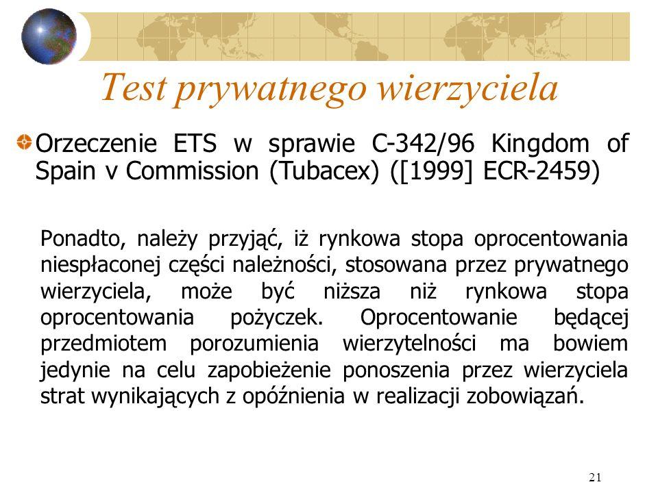 21 Test prywatnego wierzyciela Ponadto, należy przyjąć, iż rynkowa stopa oprocentowania niespłaconej części należności, stosowana przez prywatnego wie