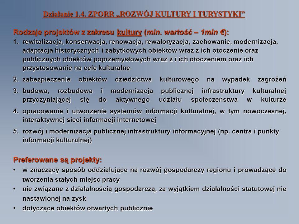 Działanie 1.4. ZPORR ROZWÓJ KULTURY I TURYSTYKI Rodzaje projektów z zakresu kultury (min.