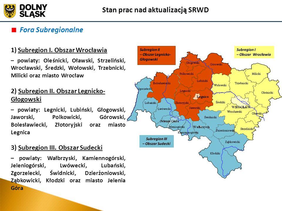 Fora Subregionalne 1)Subregion I. Obszar Wrocławia – powiaty: Oleśnicki, Oławski, Strzeliński, Wrocławski, Średzki, Wołowski, Trzebnicki, Milicki oraz