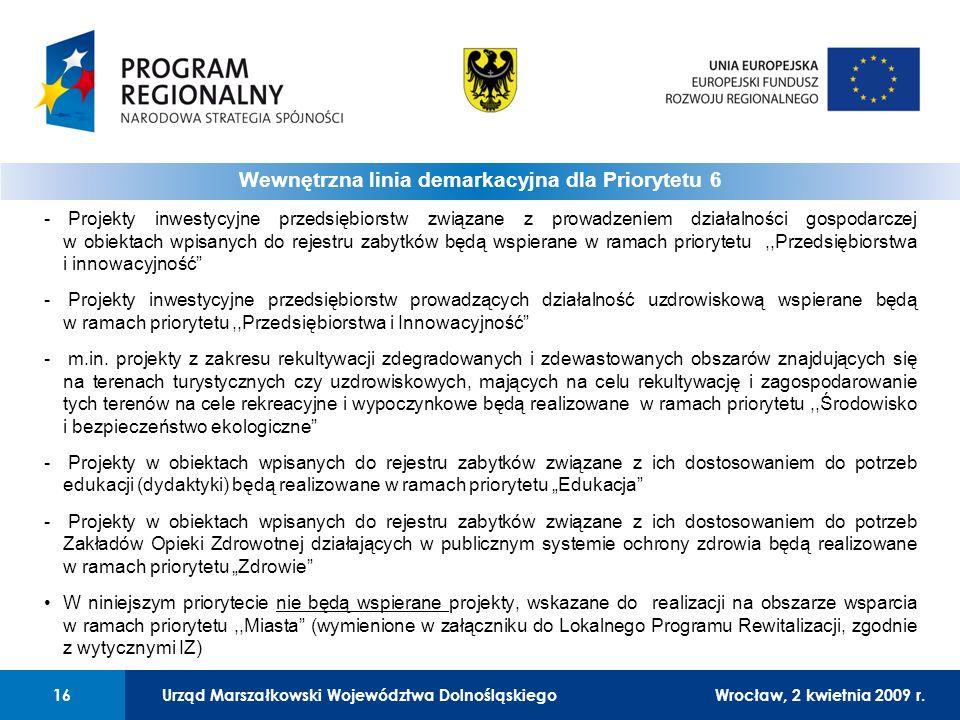 Urząd Marszałkowski Województwa DolnośląskiegoWrocław, 12 czerwca 2008 r.16 - Projekty inwestycyjne przedsiębiorstw związane z prowadzeniem działalności gospodarczej w obiektach wpisanych do rejestru zabytków będą wspierane w ramach priorytetu,,Przedsiębiorstwa i innowacyjność - Projekty inwestycyjne przedsiębiorstw prowadzących działalność uzdrowiskową wspierane będą w ramach priorytetu,,Przedsiębiorstwa i Innowacyjność - m.in.