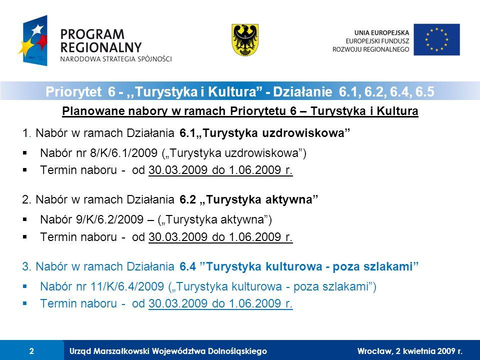 Urząd Marszałkowski Województwa DolnośląskiegoWrocław, 12 czerwca 2008 r.13 Realizowane projekty muszą wpisywać się w założenia Programu Rozwoju Turystyki dla Województwa Dolnośląskiego (którego częścią są Koncepcje Rozwoju Subregionalnych Produktów Turystycznych) – weryfikacja nastąpi: 1.