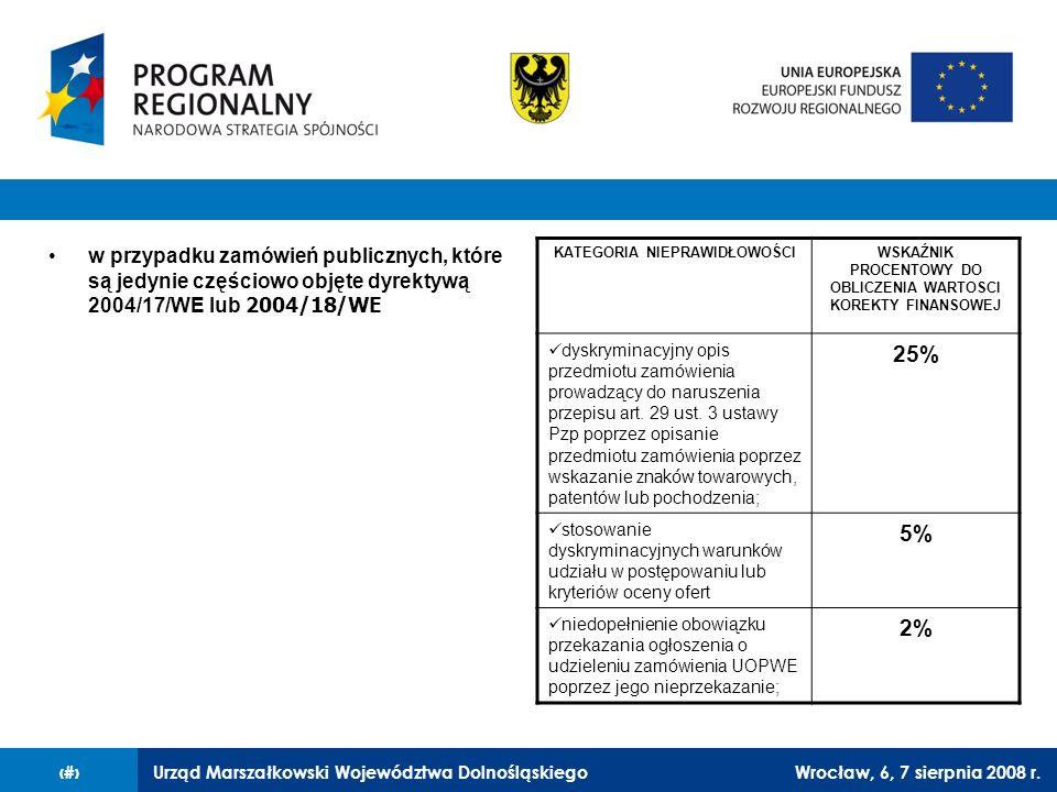 Urząd Marszałkowski Województwa DolnośląskiegoWrocław, 6, 7 sierpnia 2008 r.25 w przypadku zamówień publicznych, które są jedynie częściowo objęte dyr