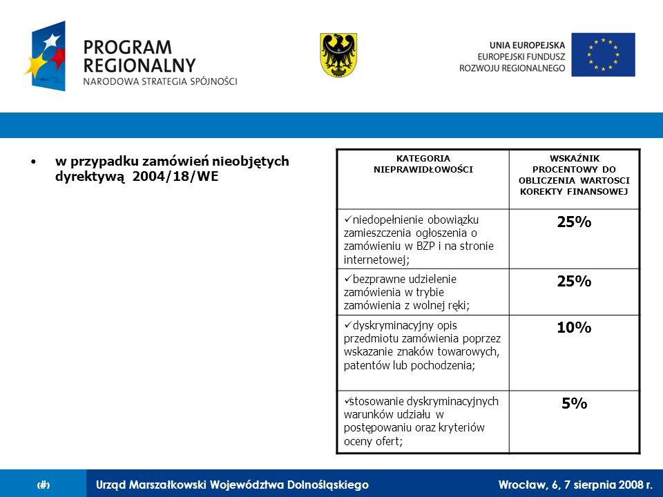 Urząd Marszałkowski Województwa DolnośląskiegoWrocław, 6, 7 sierpnia 2008 r.26 w przypadku zamówień nieobjętych dyrektywą 2004/18/WE KATEGORIA NIEPRAW