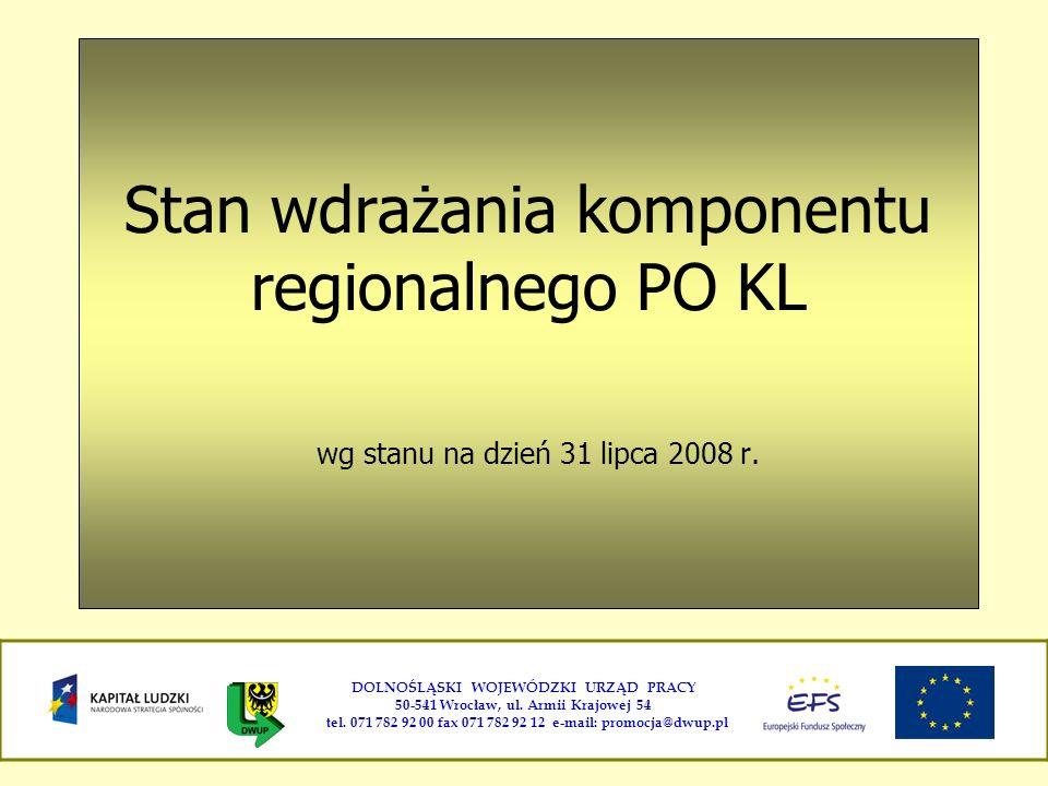 Stan wdrażania komponentu regionalnego PO KL wg stanu na dzień 31 lipca 2008 r. DOLNOŚLĄSKI WOJEWÓDZKI URZĄD PRACY 50-541 Wrocław, ul. Armii Krajowej