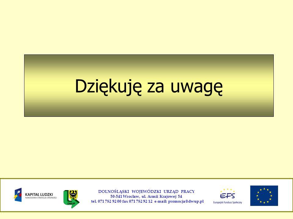 Dziękuję za uwagę DOLNOŚLĄSKI WOJEWÓDZKI URZĄD PRACY 50-541 Wrocław, ul. Armii Krajowej 54 tel. 071 782 92 00 fax 071 782 92 12 e-mail: promocja@dwup.