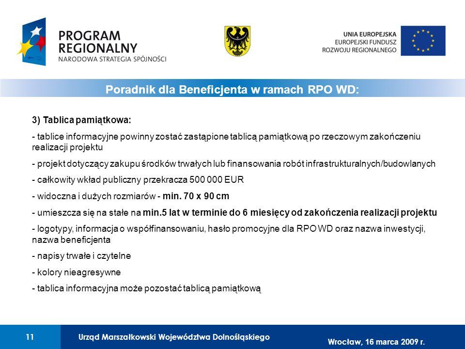 Urząd Marszałkowski Województwa Dolnośląskiego11 01 Urząd Marszałkowski Województwa Dolnośląskiego11 Poradnik dla Beneficjenta w ramach RPO WD: 3) Tab