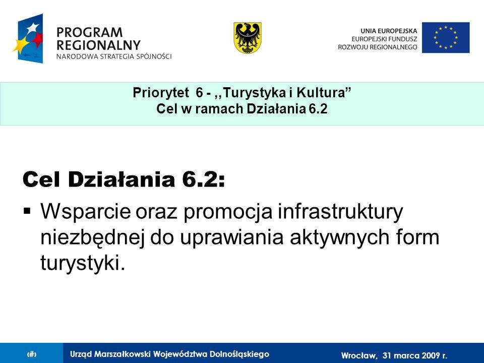 Urząd Marszałkowski Województwa Dolnośląskiego27 lutego 2008 r.3 Cel Działania 6.2: Wsparcie oraz promocja infrastruktury niezbędnej do uprawiania aktywnych form turystyki.