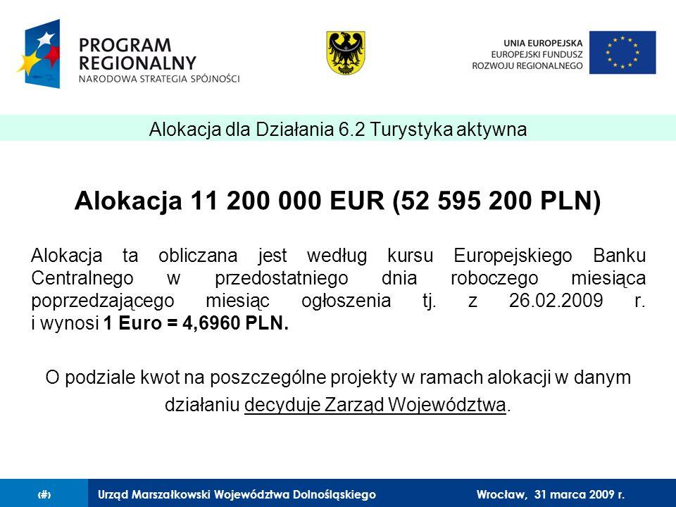 Urząd Marszałkowski Województwa Dolnośląskiego27 lutego 2008 r.7 Alokacja 11 200 000 EUR (52 595 200 PLN) Alokacja ta obliczana jest według kursu Europejskiego Banku Centralnego w przedostatniego dnia roboczego miesiąca poprzedzającego miesiąc ogłoszenia tj.