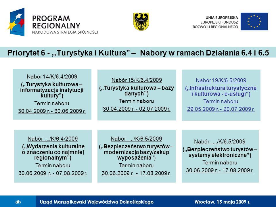 Urząd Marszałkowski Województwa Dolnośląskiego27 lutego 2008 r.2 Nabór 14/K/6.4/2009 (,,Turystyka kulturowa – informatyzacja instytucji kultury) Termi