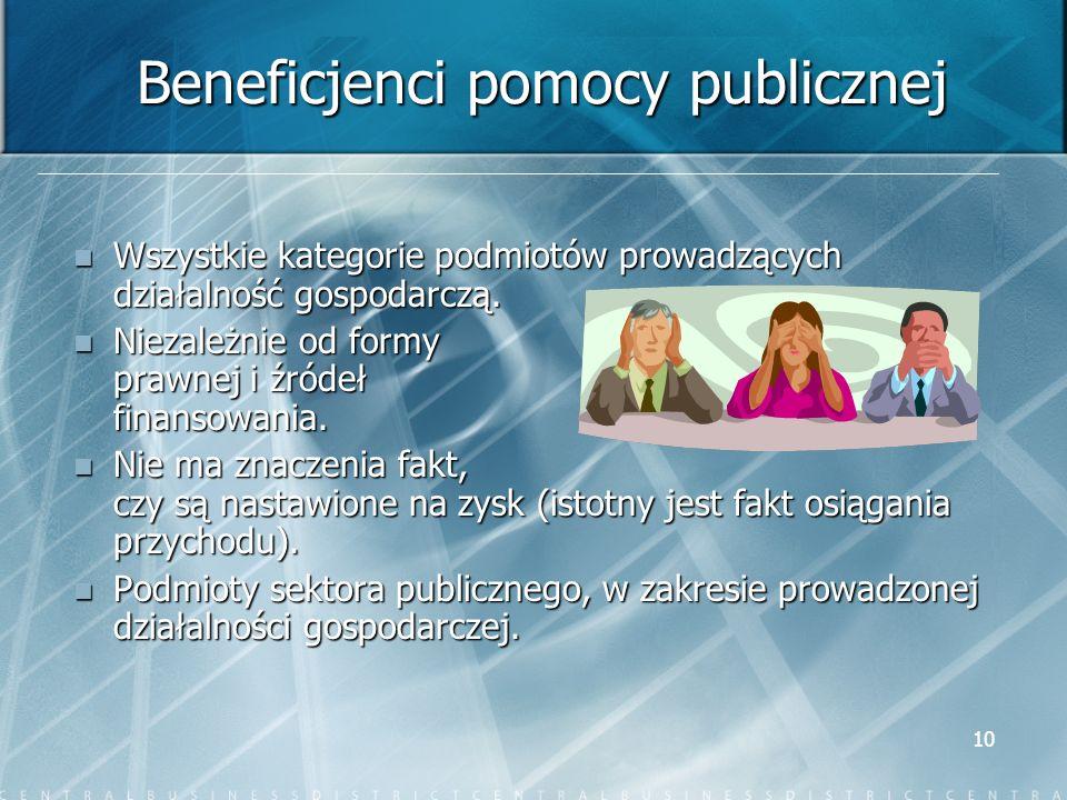 10 Beneficjenci pomocy publicznej Wszystkie kategorie podmiotów prowadzących działalność gospodarczą. Wszystkie kategorie podmiotów prowadzących dział