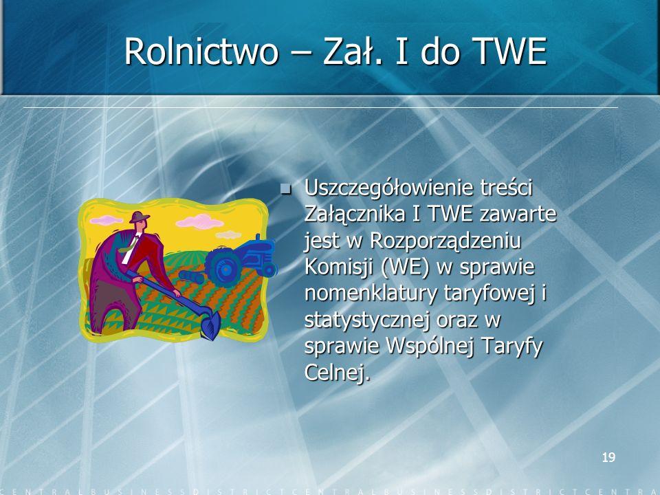 19 Rolnictwo – Zał. I do TWE Uszczegółowienie treści Załącznika I TWE zawarte jest w Rozporządzeniu Komisji (WE) w sprawie nomenklatury taryfowej i st