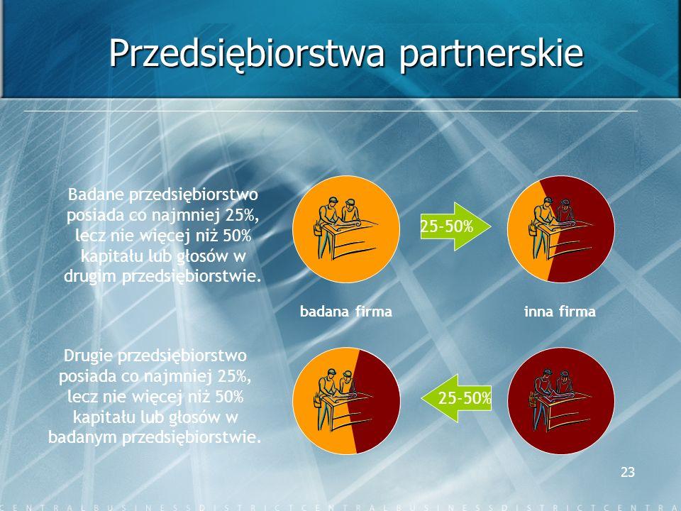 23 Przedsiębiorstwa partnerskie badana firma Badane przedsiębiorstwo posiada co najmniej 25%, lecz nie więcej niż 50% kapitału lub głosów w drugim prz