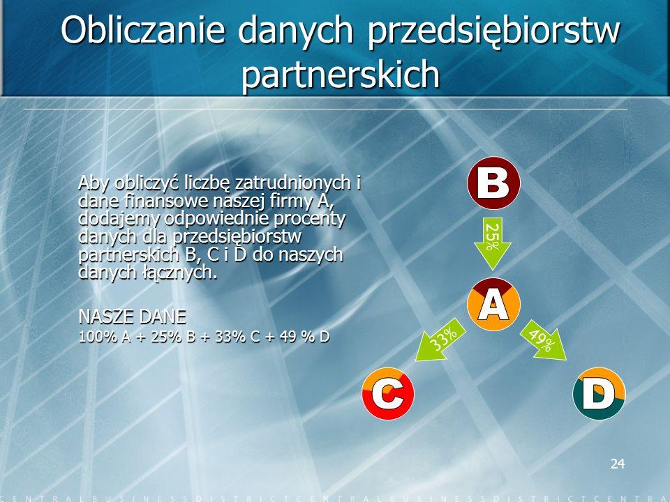 24 Obliczanie danych przedsiębiorstw partnerskich Aby obliczyć liczbę zatrudnionych i dane finansowe naszej firmy A, dodajemy odpowiednie procenty dan