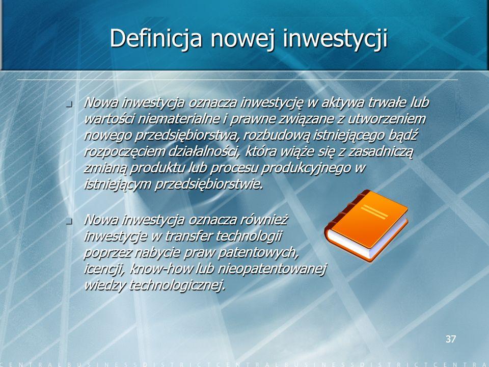 37 Definicja nowej inwestycji Nowa inwestycja oznacza inwestycję w aktywa trwałe lub wartości niematerialne i prawne związane z utworzeniem nowego prz