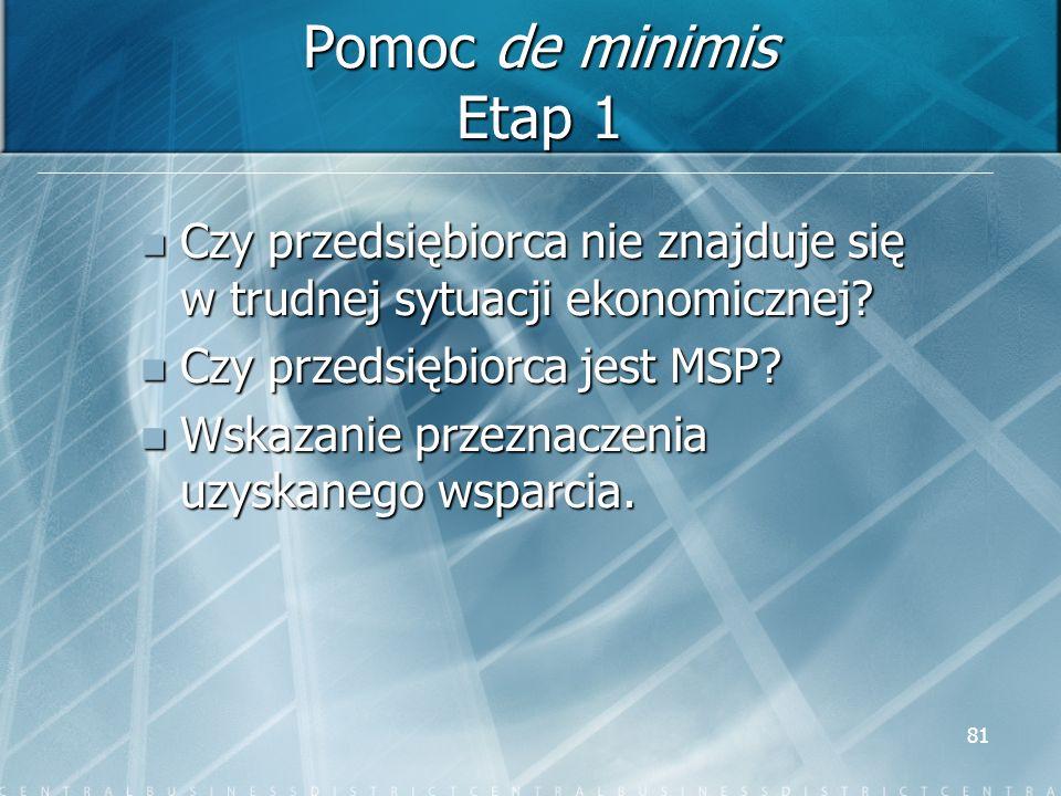 81 Pomoc de minimis Etap 1 Czy przedsiębiorca nie znajduje się w trudnej sytuacji ekonomicznej? Czy przedsiębiorca nie znajduje się w trudnej sytuacji