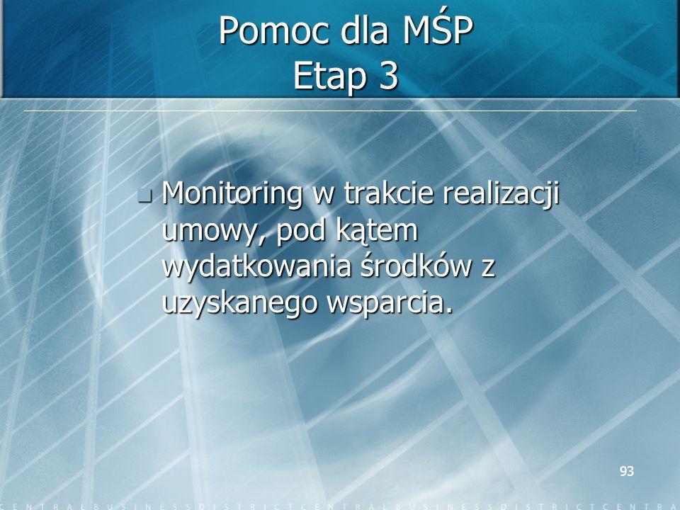 93 Pomoc dla MŚP Etap 3 Monitoring w trakcie realizacji umowy, pod kątem wydatkowania środków z uzyskanego wsparcia. Monitoring w trakcie realizacji u