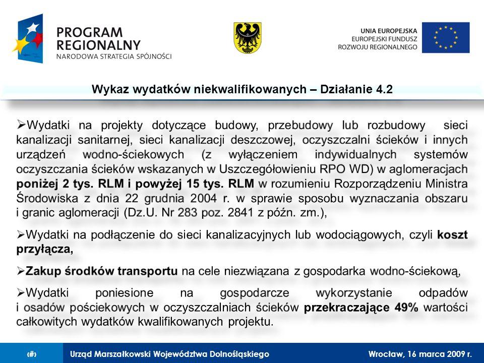 Urząd Marszałkowski Województwa DolnośląskiegoWrocław, 16 marca 2009 r.13 Wykaz wydatków niekwalifikowanych – Działanie 4.2
