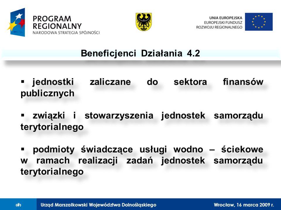 Urząd Marszałkowski Województwa DolnośląskiegoWrocław, 16 marca 2009 r.3 Beneficjenci Działania 4.2