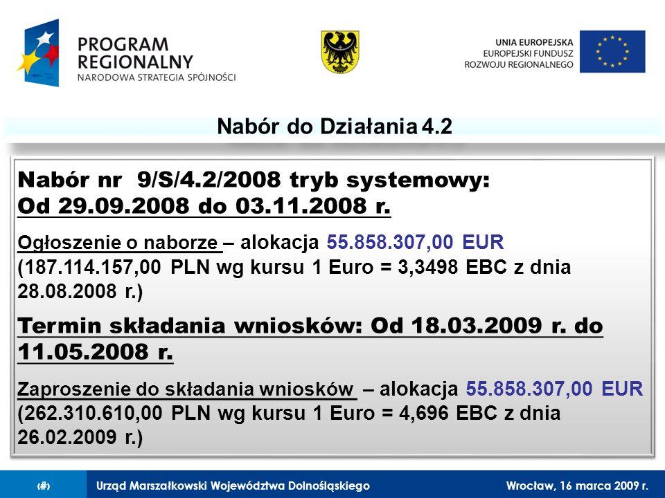 Urząd Marszałkowski Województwa DolnośląskiegoWrocław, 16 marca 2009 r.4 Nabór do Działania 4.2 Nabór nr 9/S/4.2/2008 tryb systemowy: Od 29.09.2008 do 03.11.2008 r.