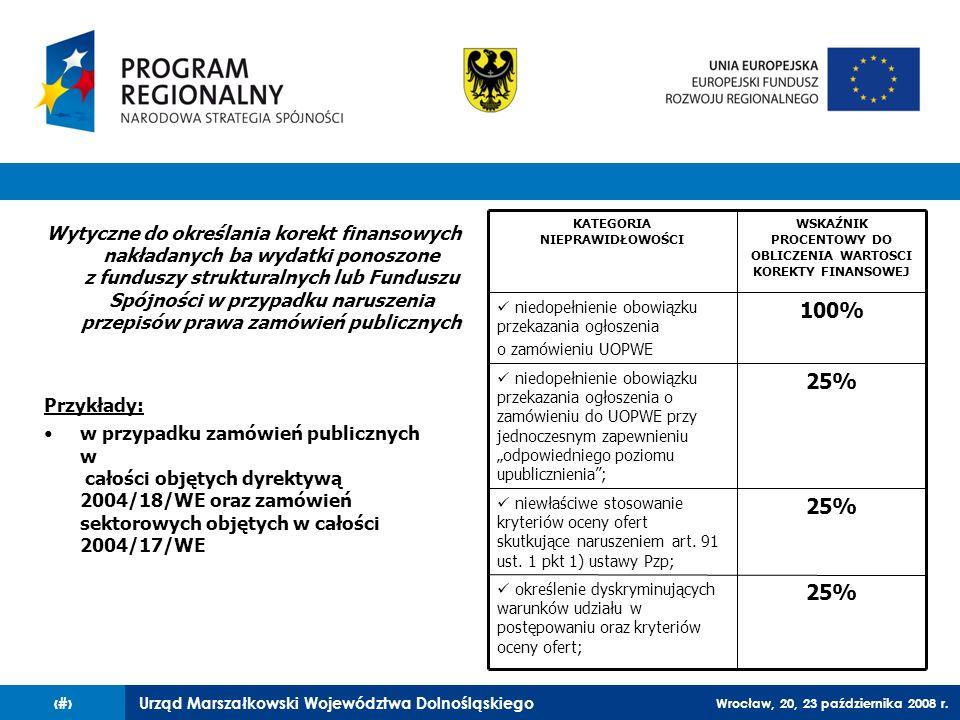 Urząd Marszałkowski Województwa Dolnośląskiego Wrocław, 20, 23 października 2008 r. 67 Wytyczne do określania korekt finansowych nakładanych ba wydatk