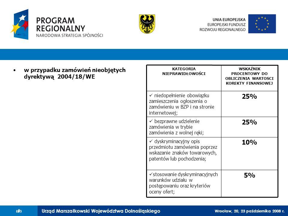 Urząd Marszałkowski Województwa Dolnośląskiego Wrocław, 20, 23 października 2008 r. 69 w przypadku zamówień nieobjętych dyrektywą 2004/18/WE KATEGORIA