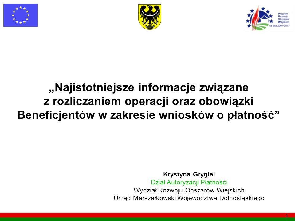 1 Najistotniejsze informacje związane z rozliczaniem operacji oraz obowiązki Beneficjentów w zakresie wniosków o płatność Krystyna Grygiel Dział Autor