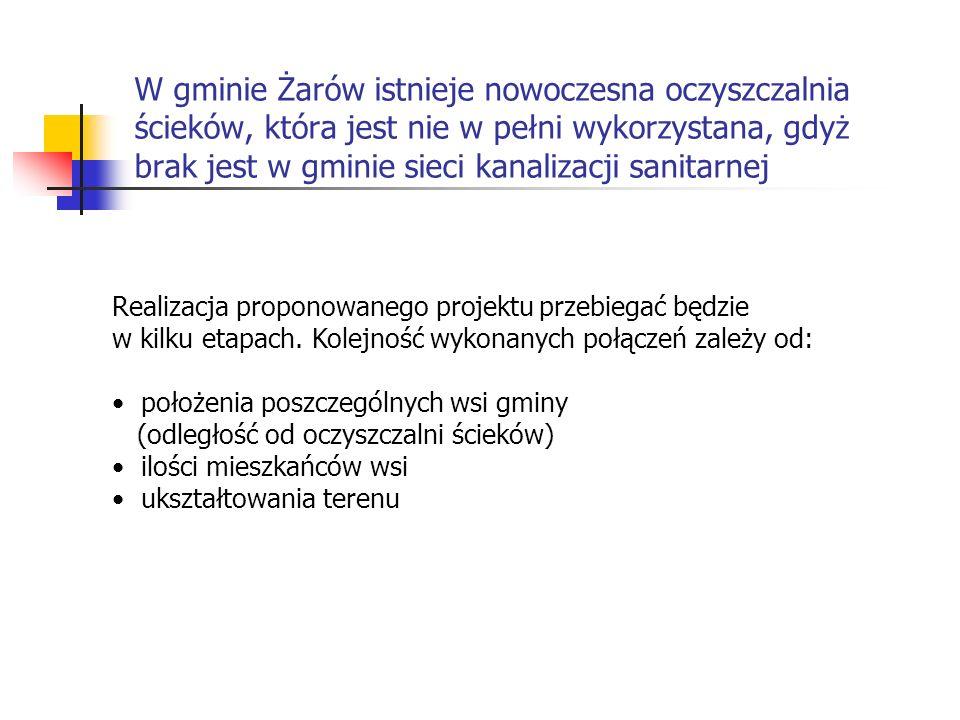 W gminie Żarów istnieje nowoczesna oczyszczalnia ścieków, która jest nie w pełni wykorzystana, gdyż brak jest w gminie sieci kanalizacji sanitarnej Realizacja proponowanego projektu przebiegać będzie w kilku etapach.