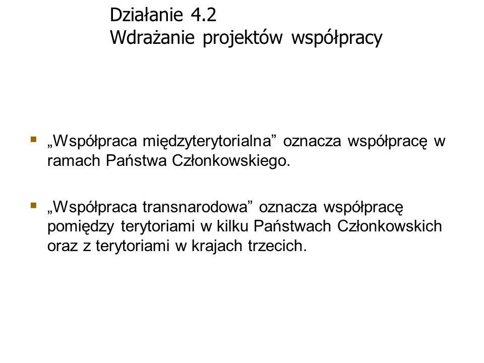 Działanie 4.2 Wdrażanie projektów współpracy Współpraca międzyterytorialna oznacza współpracę w ramach Państwa Członkowskiego. Współpraca transnarodow