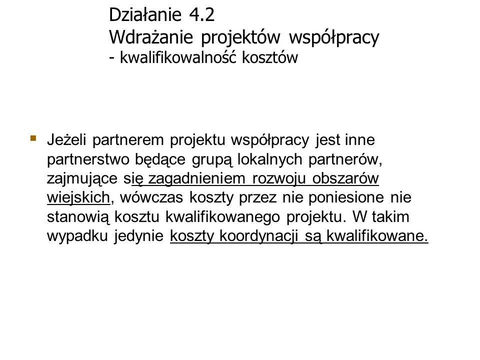 Działanie 4.2 Wdrażanie projektów współpracy - kwalifikowalność kosztów Jeżeli partnerem projektu współpracy jest inne partnerstwo będące grupą lokaln