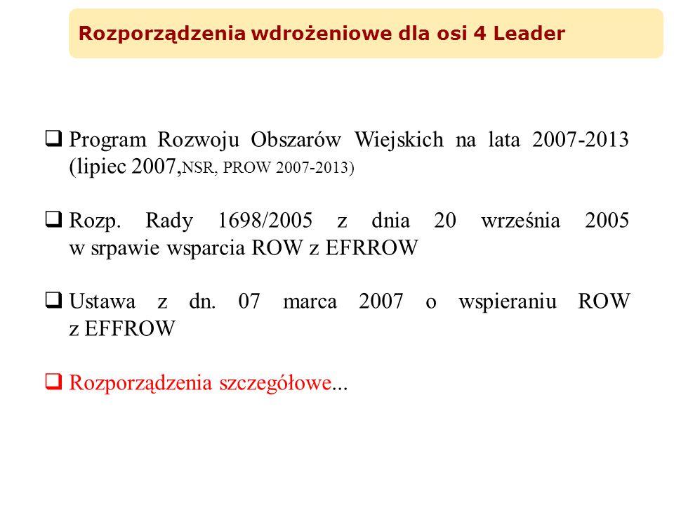 Rozporządzenia wdrożeniowe dla osi 4 Leader Program Rozwoju Obszarów Wiejskich na lata 2007-2013 (lipiec 2007, NSR, PROW 2007-2013) Rozp. Rady 1698/20