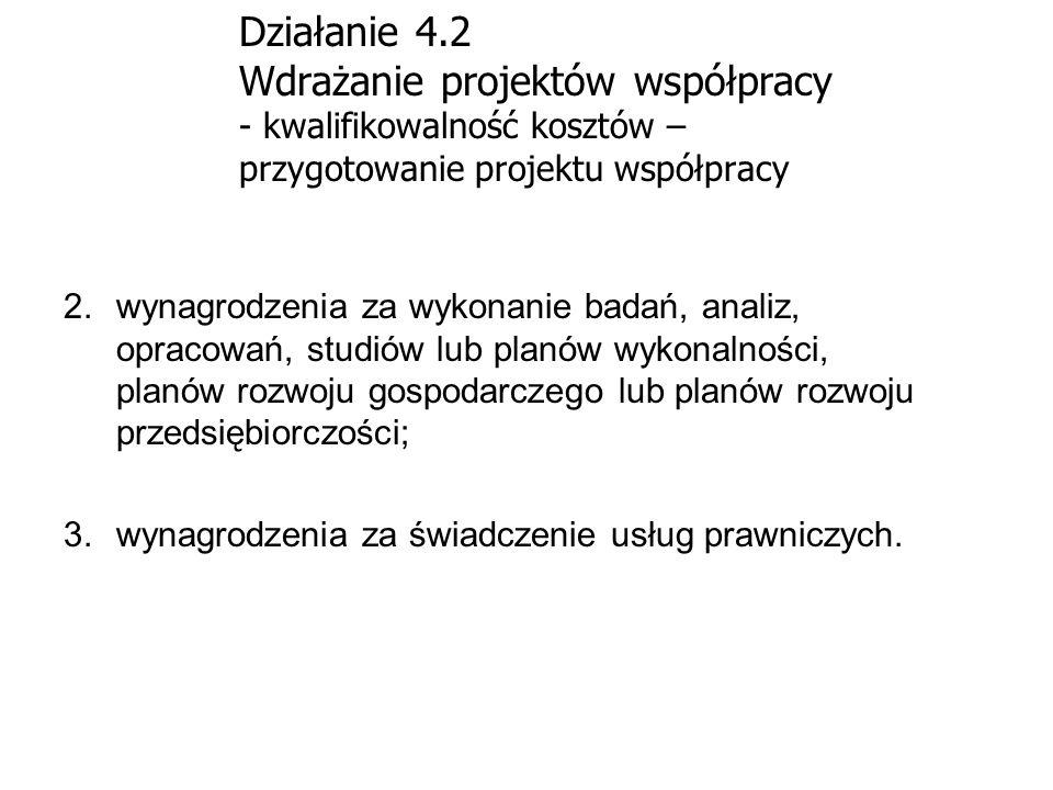Działanie 4.2 Wdrażanie projektów współpracy - kwalifikowalność kosztów – przygotowanie projektu współpracy 2.wynagrodzenia za wykonanie badań, analiz
