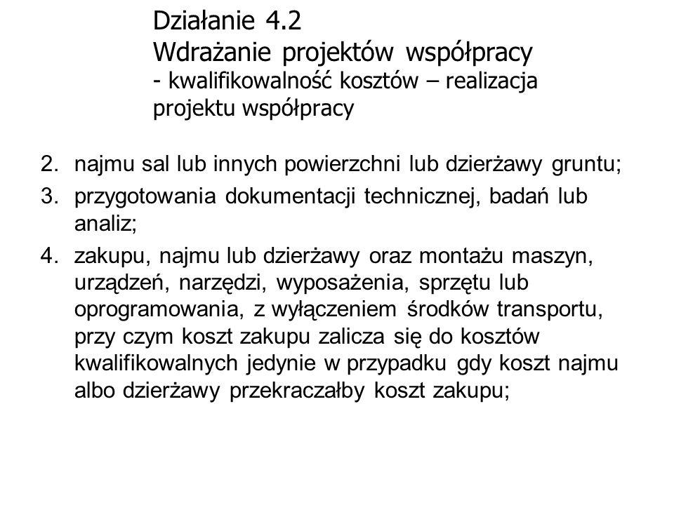 Działanie 4.2 Wdrażanie projektów współpracy - kwalifikowalność kosztów – realizacja projektu współpracy 2.najmu sal lub innych powierzchni lub dzierż