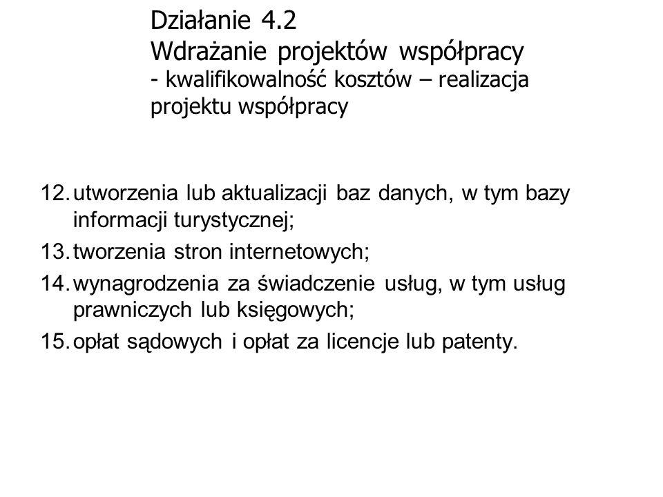 Działanie 4.2 Wdrażanie projektów współpracy - kwalifikowalność kosztów – realizacja projektu współpracy 12.utworzenia lub aktualizacji baz danych, w