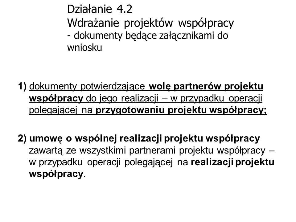 Działanie 4.2 Wdrażanie projektów współpracy - dokumenty będące załącznikami do wniosku 1) dokumenty potwierdzające wolę partnerów projektu współpracy