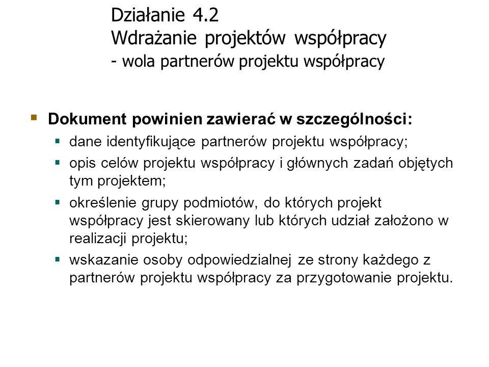 Działanie 4.2 Wdrażanie projektów współpracy - wola partnerów projektu współpracy Dokument powinien zawierać w szczególności: dane identyfikujące part