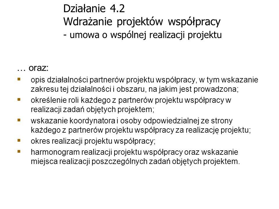 Działanie 4.2 Wdrażanie projektów współpracy - umowa o wspólnej realizacji projektu … oraz: opis działalności partnerów projektu współpracy, w tym wsk