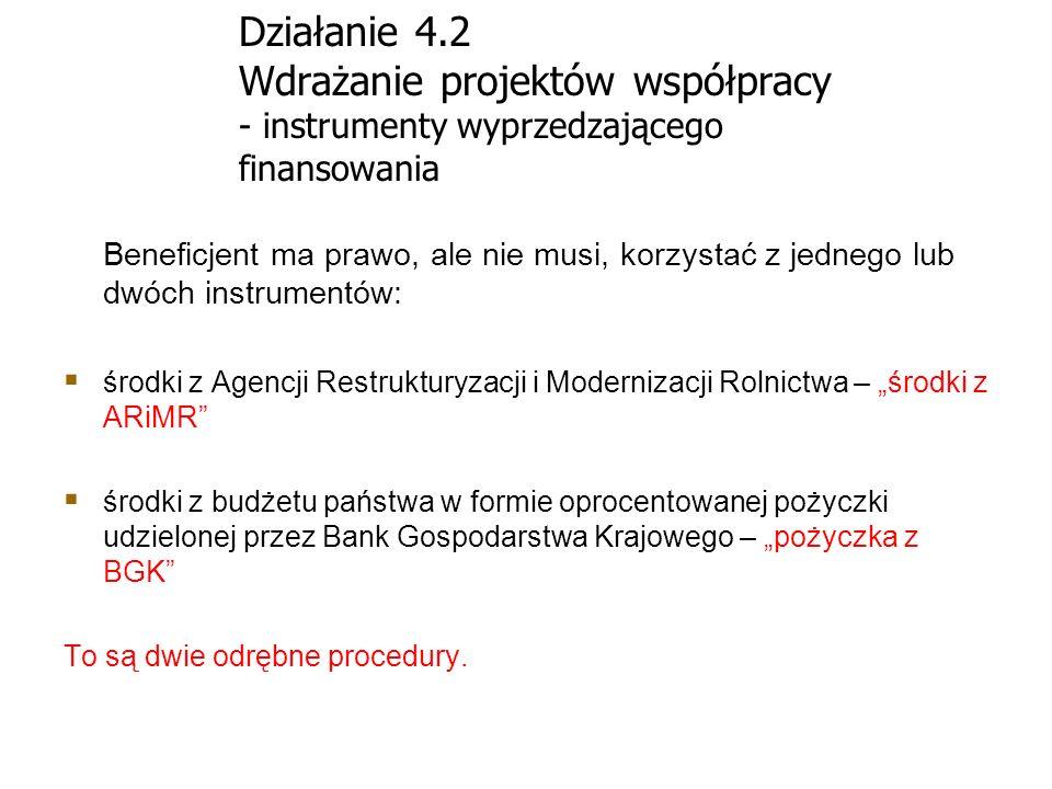 Działanie 4.2 Wdrażanie projektów współpracy - instrumenty wyprzedzającego finansowania Beneficjent ma prawo, ale nie musi, korzystać z jednego lub dw